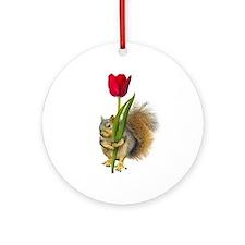 Squirrel Red Tulip Ornament (Round)