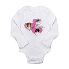 Sheltie Hearts Long Sleeve Infant Bodysuit