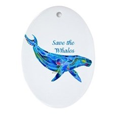 Humpback Save the Whales Ornament (Oval)