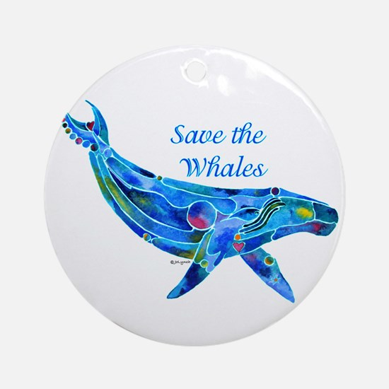 Humpback Save the Whales Ornament (Round)