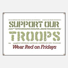 Cute Support our troops red Banner