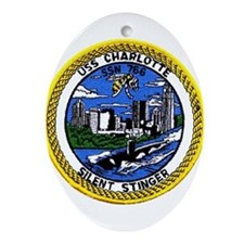 USS Charlotte SSN 766 Oval Ornament
