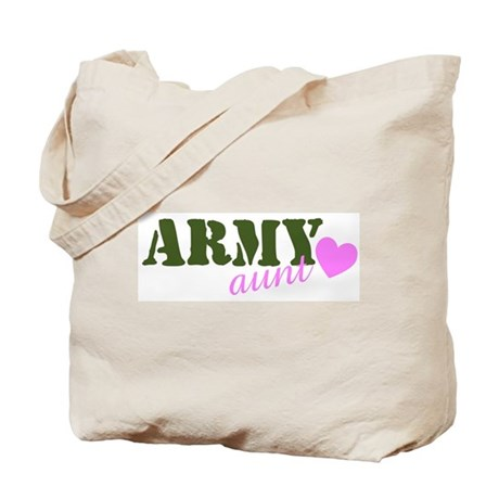 Army Aunt Green & Pink Heart Tote Bag