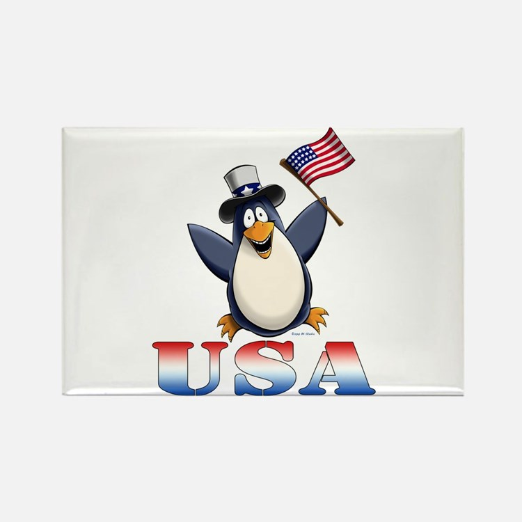 American Penguin Rectangle Magnet
