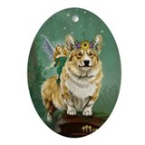 Welsh corgi fairy Oval Ornaments