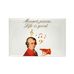 Mozart, music and pizza Rectangle Magnet (10 pack)