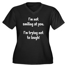 Trying Not to Laugh Women's Plus Size V-Neck Dark