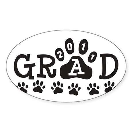 Grad 2011 Paws Sticker (Oval)