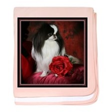 Japanese Chin and Rose baby blanket