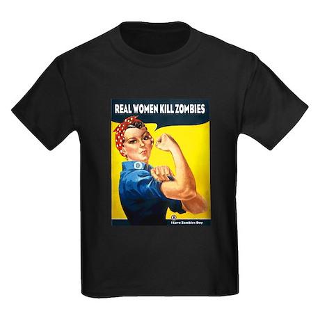 Real Women Kill Zombies Kids Dark T-Shirt