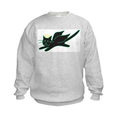 Black Angel Kitty Kids Sweatshirt