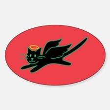 Black Angel Kitty on Red Oval Decal