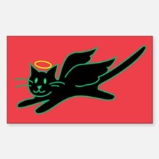 Black Angel Kitty on Red Rectangle Decal