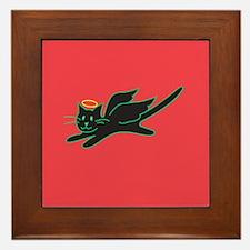 Black Angel Kitty on Red Framed Tile