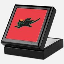 Black Angel Kitty on Red Keepsake Box