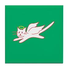 White Angel Kitty on Green Tile Coaster