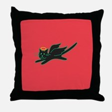 Black Angel Kitty on Red Throw Pillow