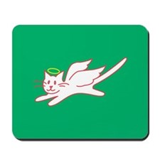 White Angel Kitty on Green Mousepad