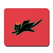 Black Angel Kitty on Red Mousepad