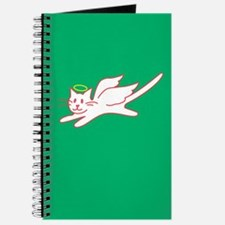 White Angel Kitty on Green Journal