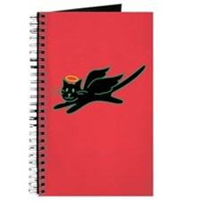 Black Angel Kitty on Red Journal