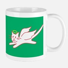 White Angel Kitty on Green Mug