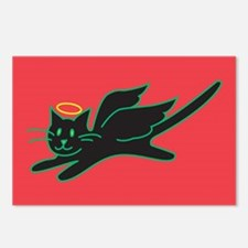 Black Angel Kitty on Red Postcards (Package of 8)