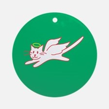White Angel Kitty on Green Ornament (Round)