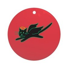 Black Angel Kitty on Red Ornament (Round)
