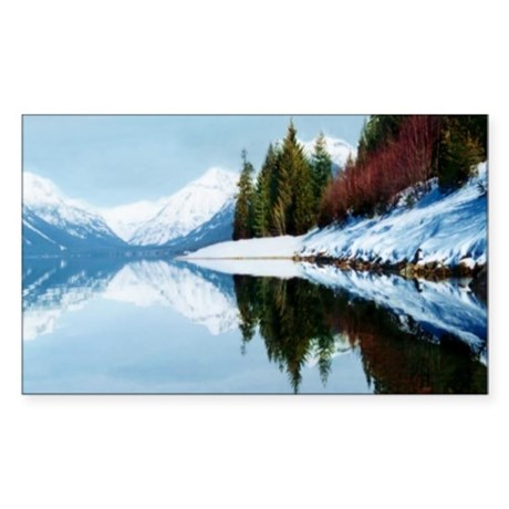 Lake McDonald Reflection Rectangle Sticker