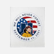 9-11 fireman firefighter Throw Blanket