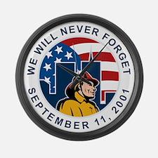 9-11 fireman firefighter Large Wall Clock