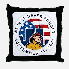 9-11 fireman firefighter Throw Pillow