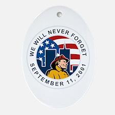 9-11 fireman firefighter Ornament (Oval)