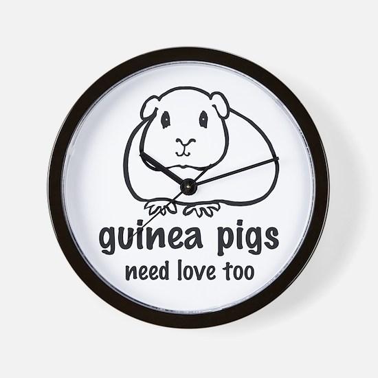 guinea pigs need love too Wall Clock