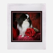 Japanese Chin and Rose Throw Blanket
