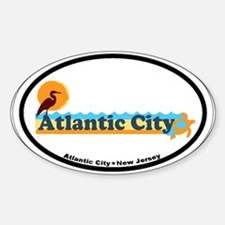 Atlantic City NJ - Beach Design. Sticker (Oval)