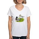 Snowy Call Ducks Women's V-Neck T-Shirt