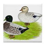 Snowy Call Ducks Tile Coaster