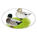 Snowy Call Ducks Sticker (Oval 10 pk)