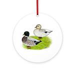 Snowy Call Ducks Ornament (Round)