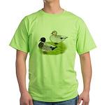 Snowy Call Ducks Green T-Shirt