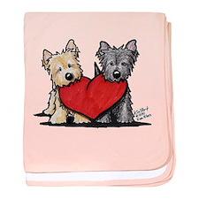 Cairn Terrier Heartfelt Duo baby blanket