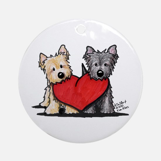 Cairn Terrier Heartfelt Duo Ornament (Round)
