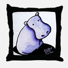 Groovy Hippo Throw Pillow