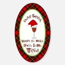 Dear Santa (Plaid) Sticker (Oval)
