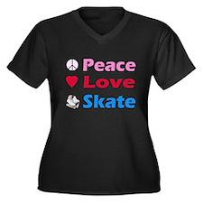 Peace Love Skate Women's Plus Size V-Neck Dark T-S