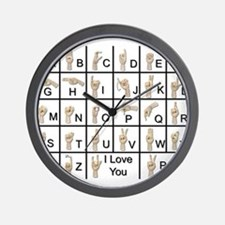 Ameslan Alphabet Wall Clock