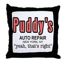 Puddy's Auto Repair Seinfield Throw Pillow