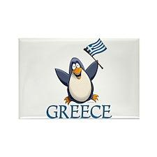 Greece Penguin Rectangle Magnet
